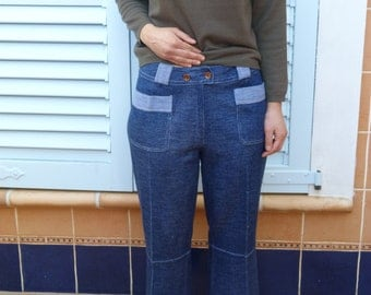 Trousers Capri flared Blue cowboy vintage 70s