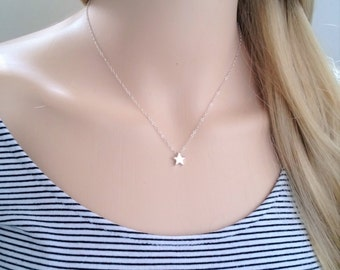 Sterling silver star necklace; small star necklace; silver star necklace; simple sterling silver necklace