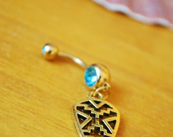 FREE SHIPPING! Gold arrow belly ring, fashion jewelry, belly button rings, styilsh fantasy geometric jewelry, blue piercing ombelico