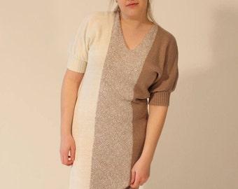 Sweater Dress Knit Dress Striped Dress 80s Dress Vintage Dress Brown Dress White Dress Grey Dress Medium Large