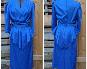 Vintage 1980's Impromptu Royal Blue with Peplum Knee Length Blelted 100% Polyester Party Evening Dress