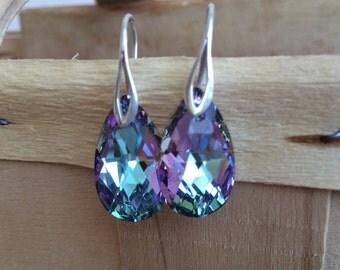 Rainbow Swarovski Pear Earrings, Pear Swarovski Earrings, Purple Swarovski Earrings, Swarovski Jewelry