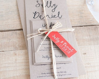 Kraft rustic wedding invitations with handwritten style font ~ kraft, pearl, textured or gold shimmer card. Deposit to get started. 'Dreams'