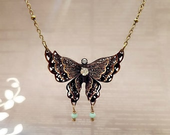 Antique Bronze Butterfly Necklace, Filigree Butterfly Necklace