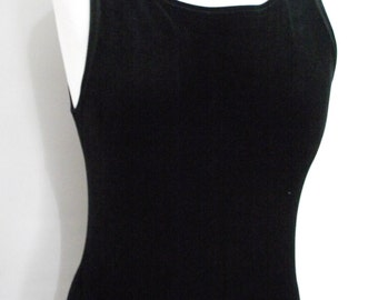 Vintage black velvet maxi evening dress sleeveless from the 80s byHigh Society size small