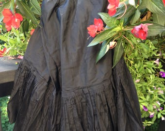 1940s Black Tiered & Ruffled Petticoat
