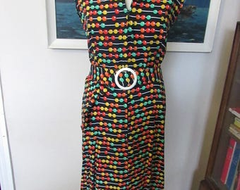 1960s colourful Abacus-print zip-front day dress, sleeveless