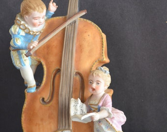 Antique BISQUE Figurine Statue Children Playing Cello Hand Painted Early French Porcelain Bisque Victorian Decor Caton Blue Under Glaze Mark