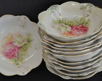 Antique RS Prussia Berry Bowl Set Twelve Small RSP Bowls White Pink Roses Beaded Rim Raised Mold Luster Finish German Porcelain Bowls