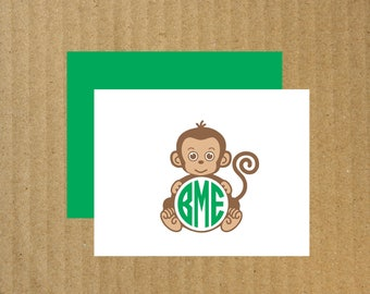 Monkey Note Cards, Set of 10, Monogram Monkey Note Cards, Monogram Note Cards, Monkey, Thank You Cards, Monkey Note Cards, Baby Monkey Cards