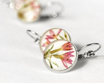 Birthday gift for girlfriend Romantic jewelry for her Pink flower earrings for mom Romantic gift idea for girlfriend Pastel jewelry for teen