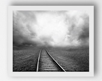 Railroad Train Track Print, Black White Photography, Landscape Photo, Vintage Black White Photos, Railroad Photo, Railroad Picture Printable
