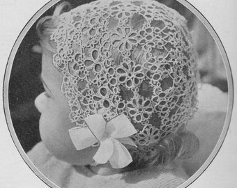 Vintage 1938 Tatting Pattern Instructions for a Baby's Bonnet - digital download