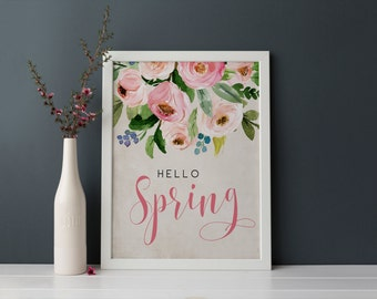 PRINTABLE Art Hello Spring Floral Bouquet Blush Pink Nursery Decor Nursery Art Print Watercolor Blush Woodland Floral spring art print