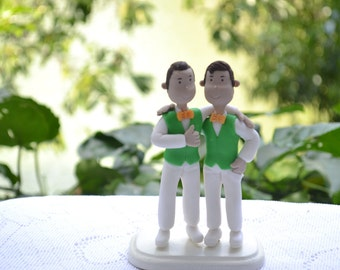 Brothers in matching outfits. Wedding party. Custom figurine. Handmade. Fully customizable. Unique keepsake