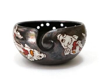 Yarn Bowl with Fish, Pottery Yarn Bowl, Ceramic Yarn Bowl, Crochet Bowl, Knitting Bowl, Yarn Bowls, Yarn, Yarn Holder, Knitting Supplies