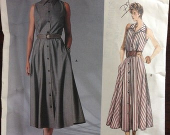 Vogue 1855 - 1980s Calvin Klein Button Front Dress with Athletic Cut Armholes and Convertible Collar - Size 12 Bust 34