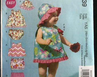 McCalls M6539 - Easy Infant's Summer Top, Skirt, Pants, Panties, and Hat - Size NB S M L XL