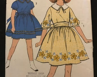 Advance 2961 - 1960s Girl's Sew Easy Summer Dress with Pilgrim Collar, Sash, and Flared Skirt - Size 10