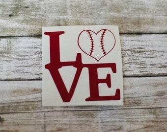 Baseball Love Decal / Monogram sticker / yet cooler monogram decal / laptop decal / car decal /circle monogram