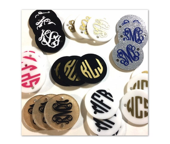 Monogram disc beads monogram jewelry 3 letter circle for Circle letter beads