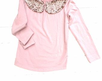 Pink Sparkle top, Sequin collar top