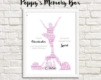 Cheerleader Personalised Word Art Print Gift Team Keepsake Poster A4 21x30cm 8.3x11.7inches ANY COLOURS 3 styles available