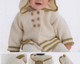DMC (15327L/2) Teddy Bear Hooded Cardigan Crochet Pattern