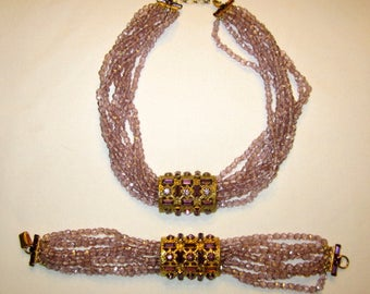 SANDOR Demi-Parure-Amethyst Crystal Necklace with Matching Bracelet
