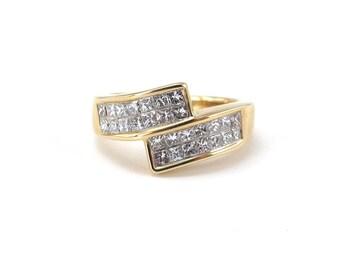 14K Yellow Gold Bypass Style Diamond Wedding Anniversary Band Ring 1.00 carat