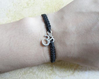 Om Bracelet, Spiritual Bracelet, Adjustable Cord Bracelet, Friendship Bracelet, Spiritual Jewelry, Om Jewelry, Om Charm, Birthday Gift