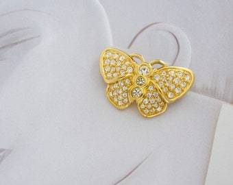 Genuine SWAROVSKI Swan signed Crystal Butterfly pin ~lovely, vintage costume jewelry