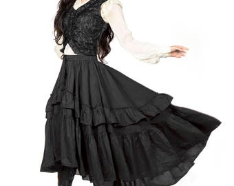 Asymmetrical Goth Victorian Steampunk Silk Cotton Ruffle Skirt SALE!!