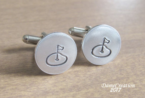 Golf cufflinks golf cuff links golfer cufflinks silver for Golf buflings