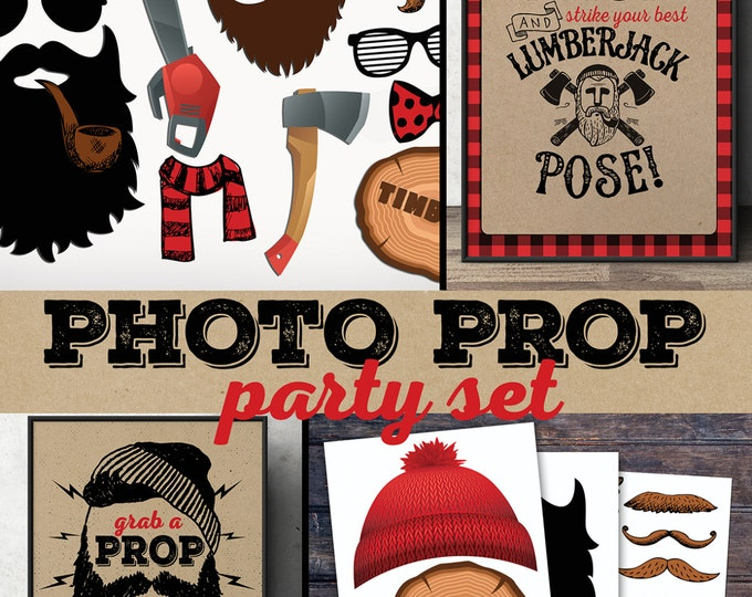 Lumberjack photo props, Lumberjack sign, Woodland party, flannel, woodland shower, woodland birthday, beard prop, Timber