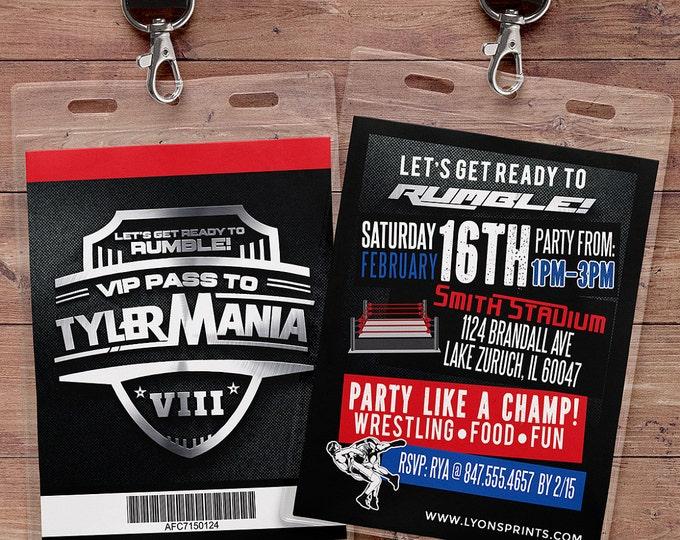Wrestle Mania Wrestlemania, Ticket Birthday Invitation, boy's birthday, 30th, 40th, boxing, fighting, wrestling party, VIP pass