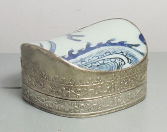 Vintage Chinese Metal and Ceramic Trinket Box/Ceramic and Metal Trinket Box/Silver Plated Trinket Box/Chinese Trinket Box/Chinoiserie Decor