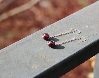 Garnet Ball Dangly Gold Filled Chain Earrings | Gemstone Statement Earrings | January Birthstone Jewelry