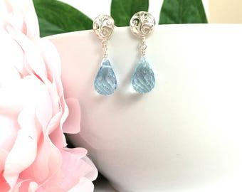 Elegant Blue Topaz Briolette Teardrop Earrings