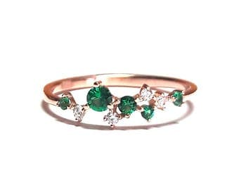 14K Gold Ring-Emerald Ring-Diamond Ring--Rose Gold Ring-14K Gold Zirconia Handmade Emerald Ring