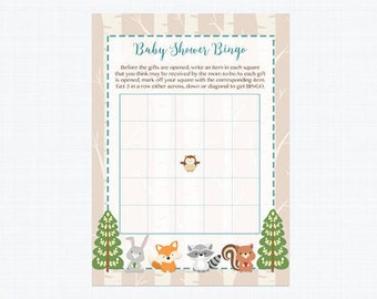 Fall Woodland Baby Shower Bingo Cards, Woodland Baby Animals Bingo Card, Instant Download PDF Printable 215