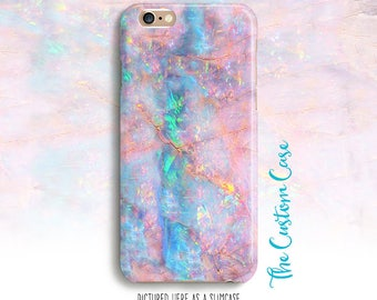 Pink Opal Phone Case, Soft Pink and Turquoise Opal Stone Phone Case, Holographic Case, Pastel Stone Phone Case, Aqua and Pink Case, Gemstone
