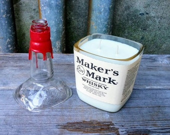 Makers Mark Soy Candle, Repurposed Glass Bourbon Whisky Decor or Gift
