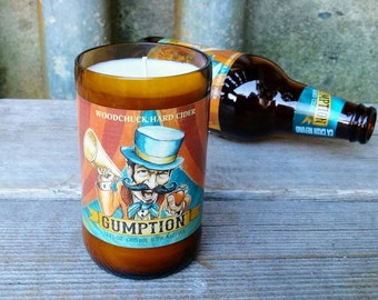 Scented Soy Candle Created From A Woodchuck Hard Cider Gumption 12 oz Beer Bottle