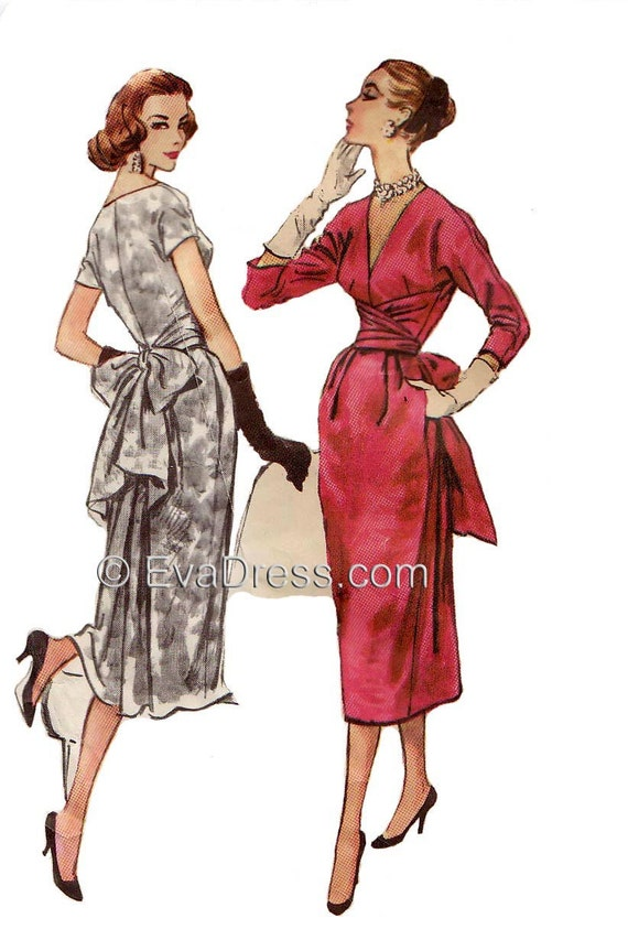 1950s Sewing Patterns | Swing and Wiggle Dresses, Skirts 1957 Claire McCardell Dress EvaDress Pattern  AT vintagedancer.com