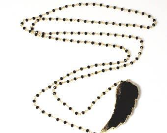 Large Black Agate Angel Wing Necklace on a Black Spinel and Vermeil Chain