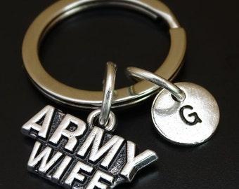 Army Wife Keychain, Custom Keychain, Custom Key Ring, Army Wife Pendant, Army Wife Charm, Army Wife Jewelry, Military Keychain, Military