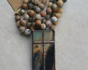 """Original Artisan Design by MJM Designs™, hand knotted matte agate 34"""" necklace with 2.5"""" amazonite soldered cross slice pendant"""