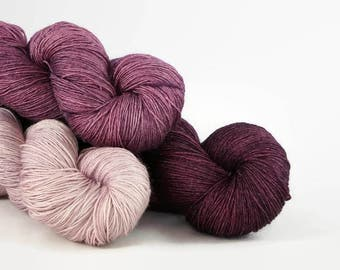 Hand dyed lace yarn gradient set - semi solid superwash merino silk - Bordeaux