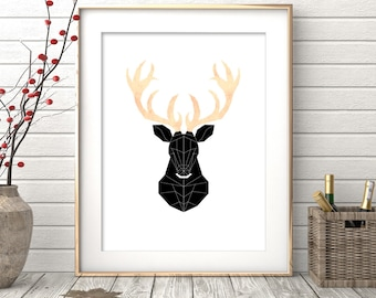 Deer Print, Nursery Decor, Printable Gift, Deer Poster, Deer Head, Home Decor, Woodland Nursery, Animal Print, Woodland Animals, Deer Antler